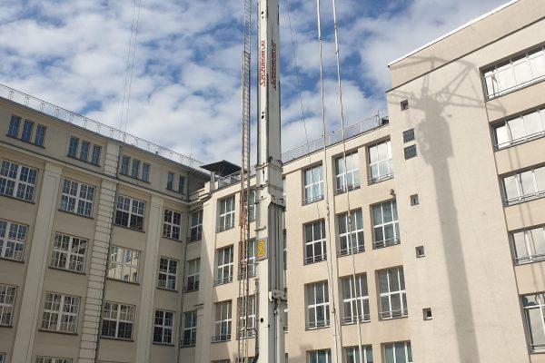 Mobilny żuraw wieżowy - rozstawienie
