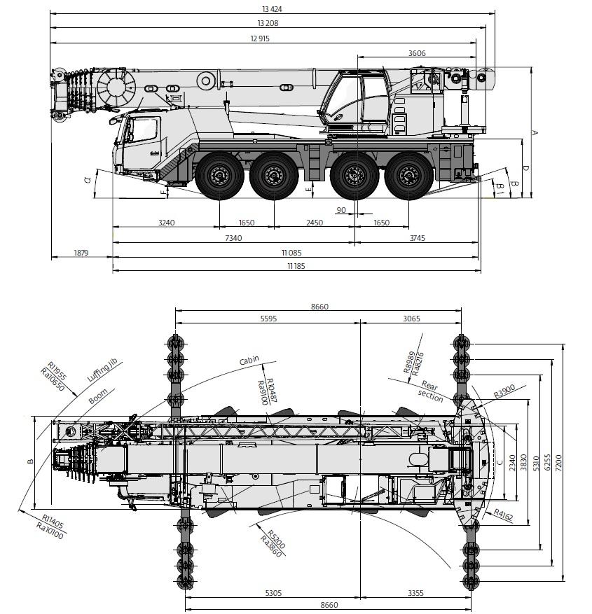Wymiary dźwigu GMK 4100L